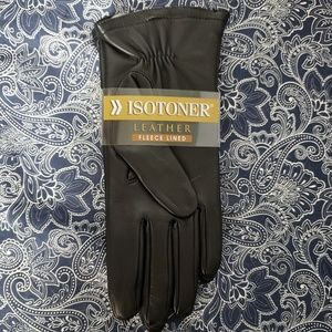 ISOTONER *nwt* Sz7.5 Black Leather Classicn Gloves